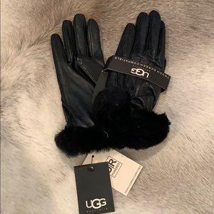 Ugg genuine black leather shearling sheepskin fur